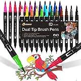 Dual Brush Pen Set, 24 Farben, Aquarell Pinselstifte Marker Doppelte Filzstifte für Bullet Journal...