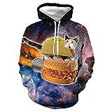 YIJIAN 3D Hamburger Digital Gedruckt Mit Kapuze Sweatshirt,Mit Kapuze...