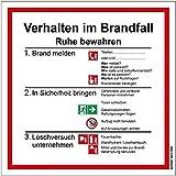 Aufkleber Rettungszeichen'Verhalten im Brandfall' 20-100cm Symbol Schild Folie selbstklebend nach...