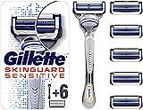 Gillette SkinGuard Sensitive Rasierer Herren, klinisch getestet für empfindliche Haut, Rasierer + 6...