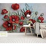 Benutzerdefinierte 3D Wandbilder Tapete Retro Handgemalte Blumenwand Wohnzimmer Schlafzimmer Home...