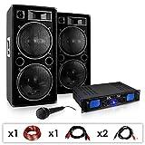 Skytec DJ-26 PA-Komplett-Set/lautstarke Musikanlage mit 2000 Watt PA-Boxen & Verstärker inkl....