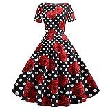 Damen 50er Jahre Vintage Kleid Fit und Flare Elegant Cocktailkleid Abendkleid Party Abschlussball...