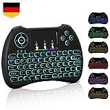 Mini Tastatur Wireless Touchpad Beleuchtet PC Fernbedienung 2.4GHz QWERTZ Deutsch Tastaturlayout 10M...