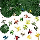 Gejoy 36 Stücke Kunststoff Frosch Set inklusiv 24 Stück Winzigen Plastik Frosch und 12 Stück...