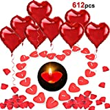 HOWAF 12pcs 18 Zoll Rotes Herz Ballon mit Helium, 100pcs Liebesherz Kerzen, 500pcs Rot Rosenblüten...