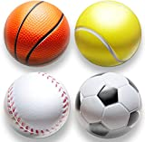 deloono | 4Stk | Stressball im Mini Sportball Design | 6,35cm | Antistressbälle Stressbälle in...
