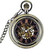 LXLH Taschenuhr und Kette, Mode Taschenuhr Vintage Antikes Skelett Römische Zahlen Uhr Anzeige...