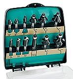 ENT 09012 12-tlg. DURACUT HM Frser Set in bruchfester Kunststoffkassette - Oberfrser mit Schaft 8 mm