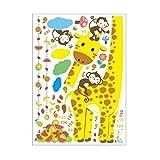 Schöne Cartoon Giraffe Maßnahme Wandaufkleber für Kinder Messlatte Lineal Abziehbilder...