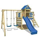 WICKEY Spielturm Smart Cave Kletterturm Spielhaus auf Podest mit Schaukel und Rutsche, groem...
