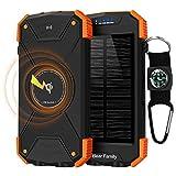 Bear family Qi Wireless Power Bank, Handy-Solarladegeräte, Tragbare Externer Akku 10000mAh mit...