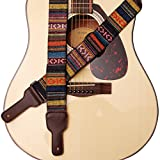 Musik Erste Original Design Classic Country Style Soft-Baumwolle und echtem Leder Gitarrengurt,...