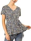 Allegra K Damen Kurzarm V Neck Bindegrtel Leopard Top Bluse Navy Blau XL