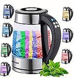 Glas Wasserkocher 1,7 Liter | 2200 Watt | 100% BPA FREI | Edelstahl mit Temperaturwahl | LED...