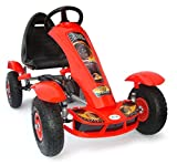 JOY 4KiDS Kinder Pedal go Kart, fahrzueg, Pedal go cart, Rubber air Inflatable Tyres 5-10 Yrs (red)