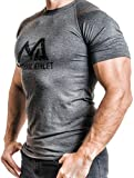 Herren Fitness T-Shirt meliert - Männer Kurzarm Shirt für Gym & Training - Passform Slim-Fit, lang...