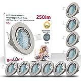 LED Einbaustrahler I Schwenkbar I Inkl. 10 x 3W GU10 Leuchtmittel I IP23 I Warmweie Lichtfarbe I...