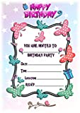 Einladungskarten für Kindergeburtstag, Schmetterlingsmotiv, Hochformat, fliegender Rahmen,...