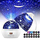 Sternenhimmel Projektor LED Projektor Lampe Kinder 360° Drehen 17 Beleuchtungsmodi und Timer...