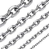 ChainsHouse Edelstahl Herren Ankerkette Unisex Rolo Collier-Breit 5mm Lang 46cm-Silber-Schmuckbox...