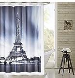 NoNo Digital Gedruckter 3D-Duschvorhang Badezimmer-Duschvorhang mit Edelstahlse leicht zu dehnen...