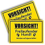 2 Stück Vorsicht Freilaufender Hund Schild 20 x 30 cm aus Stabiler PVC Hartschaumplatte 3mm Achtung...