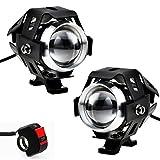 Justech 2 X Motorrad Scheinwerfer mit Schalter Motorrad vorne Scheinwerfer 2 Stück 125W 3000LM CREE...