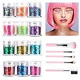 Glitzer Gesicht, Festival Make Up Chunky Glitter Sequin für Gesicht Nägel Augen Haare Körper...