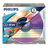 Philips CD-RW Rohlinge 80Min 700MB 4-12x 5er Slim Case Coloured