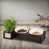CanadianCat Company ® | Futterbar Cat Diner Hartfaser Holzrahmen in dunkler Optik für Katzen mit...
