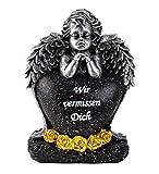 Engel Figur Grabschmuck mit Herz Wir vermissen Dich 16,5 cm Grabdeko Trauerstein