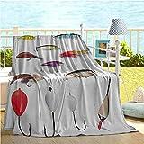 Fleece Blanket Angeln Dekor Für Couch Netting Materialien Mit Schwenkplatinen Fliegenruten Schwimmt...