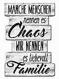Bada Bing Planken Schild Familie Chaos 29 x 20 Wandschild Bild Spruch Deko 121