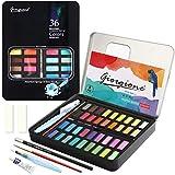 Aquarellfarbkasten, Aquarellfarben Set einschließlich 36 Wasserfarben +1 Aquarellpinsel + 1...