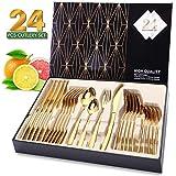 Elegant Life Besteckset Golden für 6 Personen aus Japan-Edelstahl, Tafelbesteck Set 24-teilig,...