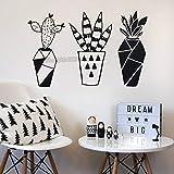 jiushivr 3D Geometric Cactus Wandtattoos Dekoration PVC Nette Aufkleber Für Wohnzimmer Schlafzimmer...