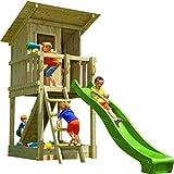 Blue Rabbit Spielturm Beach Hut mit Rutsche + Rampe mit Seil Kletterturm Holzturm Stelzenhaus mit...