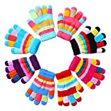 Herefun 8 Paare Kinder Handschuhe winter, Handschuhe Strick kinder Bunte Cute, Winter Warme...