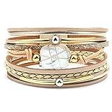 BMGFEW Armband Mehrschichtiges Lederarmband für Damen