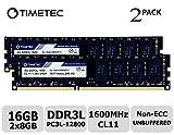 Timetec Hynix IC 16GB Kit (2x8GB) DDR3L 1600MHz PC3-12800 Unbuffered Non-ECC 1.35V CL11 2Rx8 Dual...