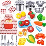 Hapeefun 29Pcs,Küchenspielzeug Zubehör Kinderküche Kochgeschirr Edelstahl Pfannenset Schürze und...