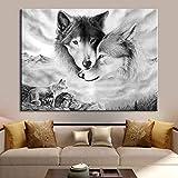 Leinwand Malerei Tier Wandkunst Schwarz Weiß Wolf Druck Poster Home Decoration Bilder für...