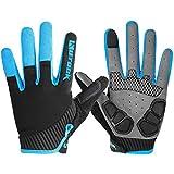 KUTOOK Herren Fahrradhandschuhe Mit Gel Vollfinger MTB Handschuhe für das Radfahren(Blau,M)