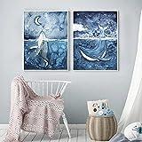 AdoDecor Bilder leinwand Sea Whale Moon Girl Abstrakte Fantasie Wandkunst Leinwand Malerei Nordic...