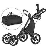 CaddyTek one Klick-klappbar, golf trolleys 4 Rad Golf Push cart,golfwagen-mit lager - tasche,dark...