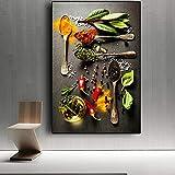 Rlayohuo Moderne Küche Dekor Gemälde Mix Kräuter und Gewürze Leinwand Künstlerische...