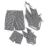 Yaffi 2019 Badeanzug für die Familie, einteilig, Schwarz/Weiß gestreift Gr. 8-9 Jahre, Weiß#2