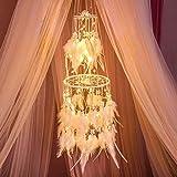HitTopss Traumfänger-Dekoration mit warmem LED-Lichterkette zum Aufhängen, Warmweiß Warm Light
