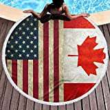Strandtuch mit USA Kanada-Flagge, dick, rund, Mikrofaser, Mehrzweckdecke, strapazierfähig, schnell...